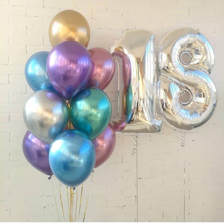2 cipari + 10 Chrom baloni ar hēliju  #741