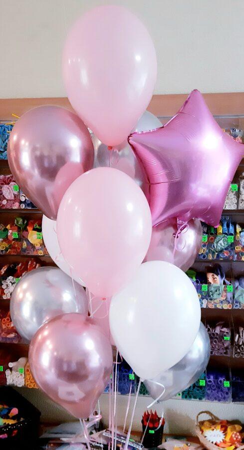 10 baloni ar hēliju + folijas zvaigznīte #106