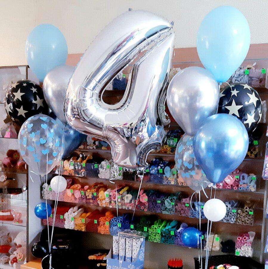 Cipars+2 pušķi*5 baloniem ar hēliju #703