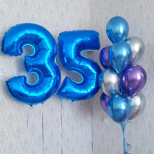 2 cipari + pušķis* 10 Chrom  baloniem ar hēliju #1104