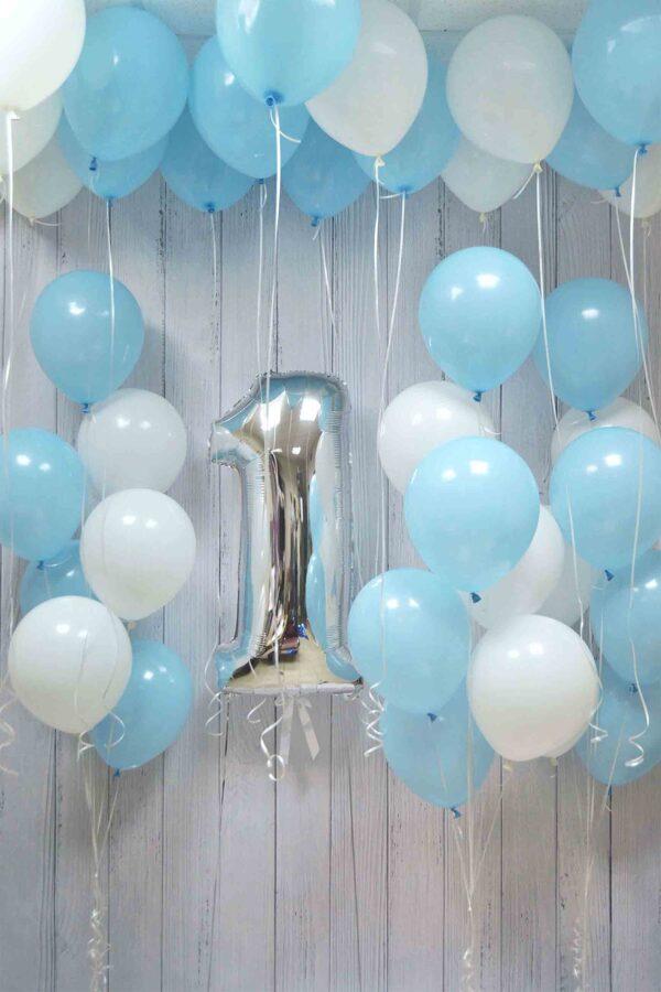 Cipars + 3 pušķi*7 baloniem + 20 baloni ar hēliju  #707