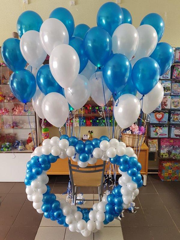 Sirds + 6 pušķi* 7 baloniem ar hēliju #1019