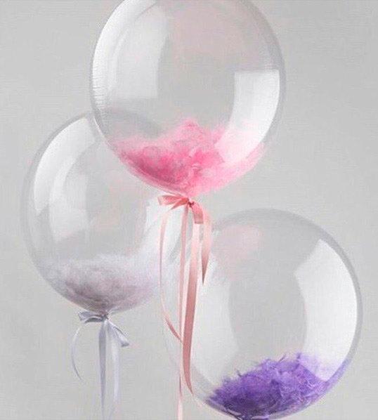 Caurspīdīgs balons ar spalvām (1 gab.) #114