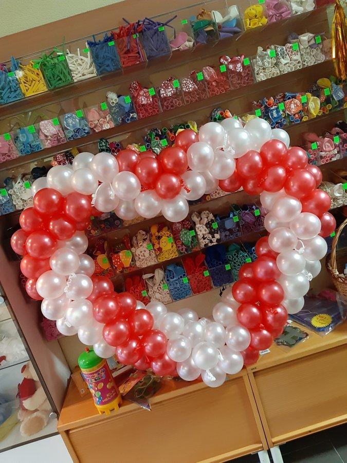 Sirds + 2pušķi* 7 baloniem ar hēliju #1003