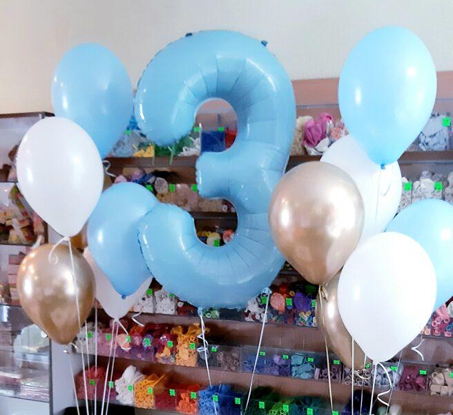 Цифра + 10 шариков с гелием #714